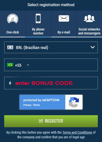 1xBet -  registro no aplicativo com um código promocional